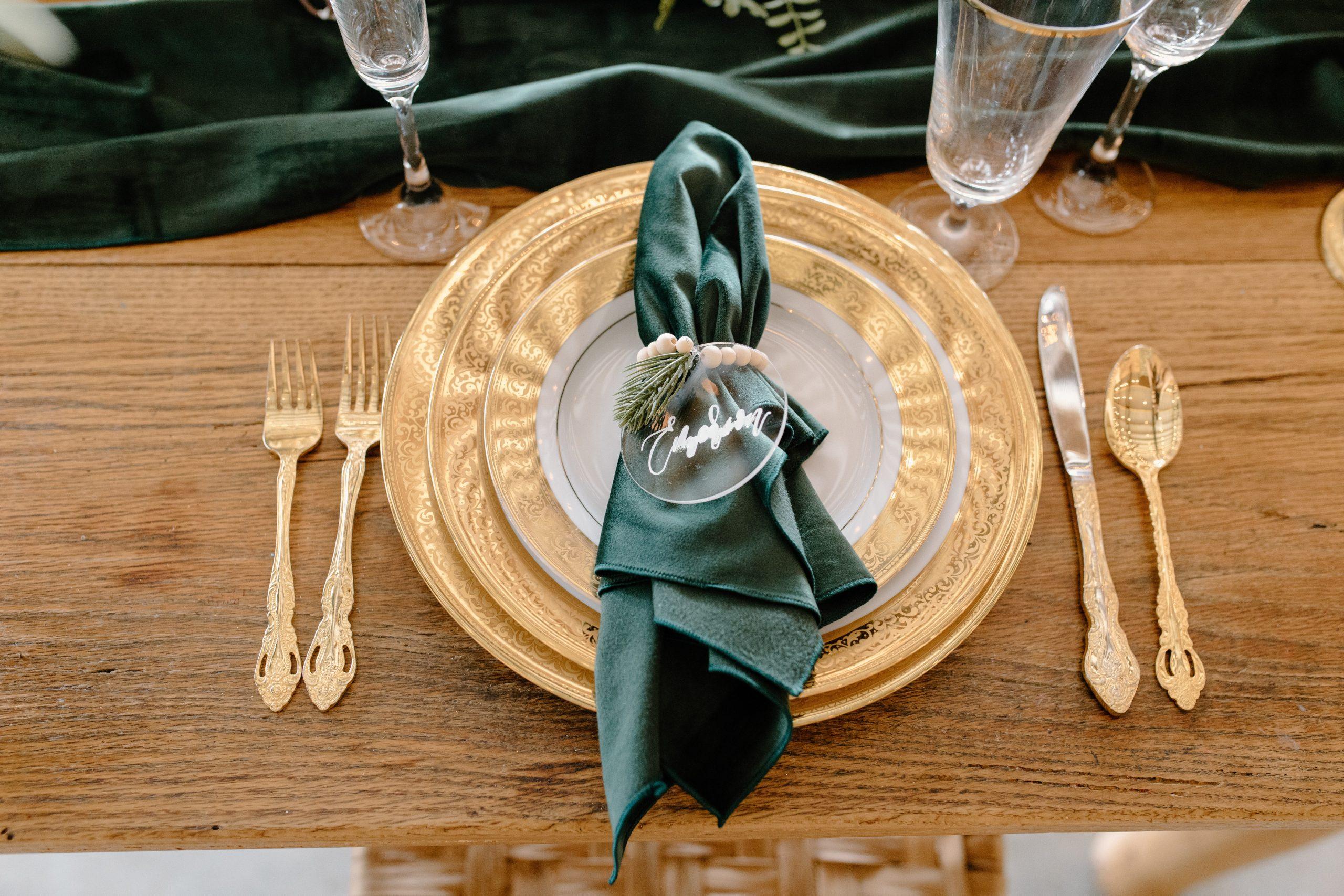 Festive dinner place setting